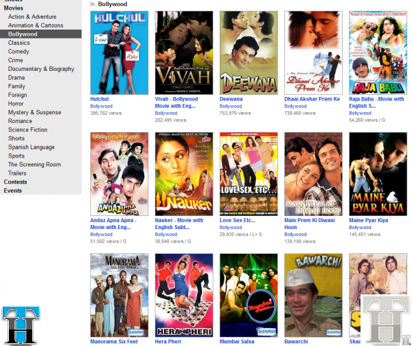Watch Full Length Bollywood movies legally on Youtube & Hulu