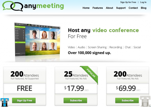 AnyMeeting lets you host online meetings with anyone for FREE