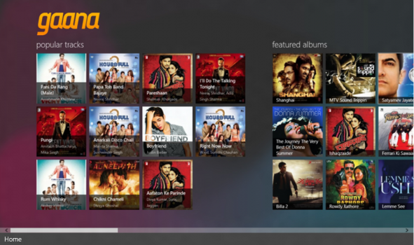 Gaana Windows 8 Main Screen