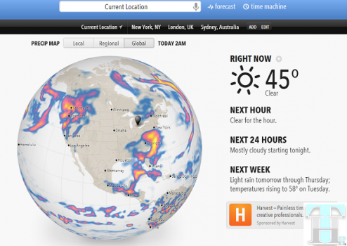 Use Forecast.io on your smartphone for a clean and useful weather report