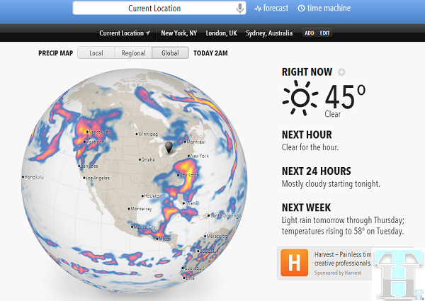 Forecast.io delivers a clean and useful one page Weather Report for your location