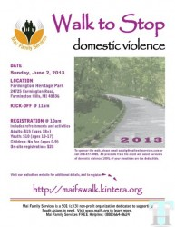 Participate in 2013 Walkathon in Michigan to stop Domestic Violence