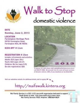 Participate in 2013 Walkathon in Michigan to stop Domestic Violence