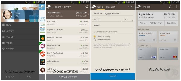 PayPal Android App Screenshots