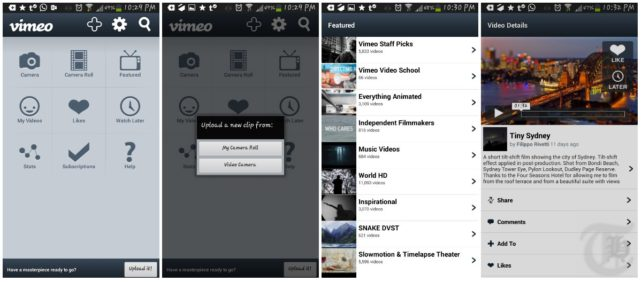 Vimeo Android App Screenshots