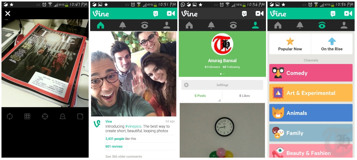 Record and share videos on android or iphone with these 5 free vine android app screenshots ccuart Gallery