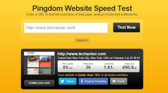 Pingdom Tools - Website speed test