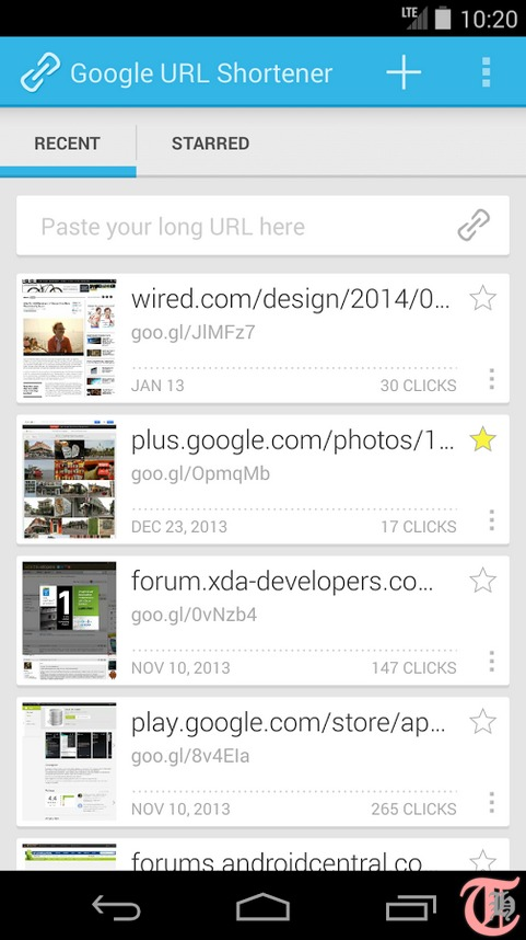 Use Goo gl URL Shortener Android app to share long links